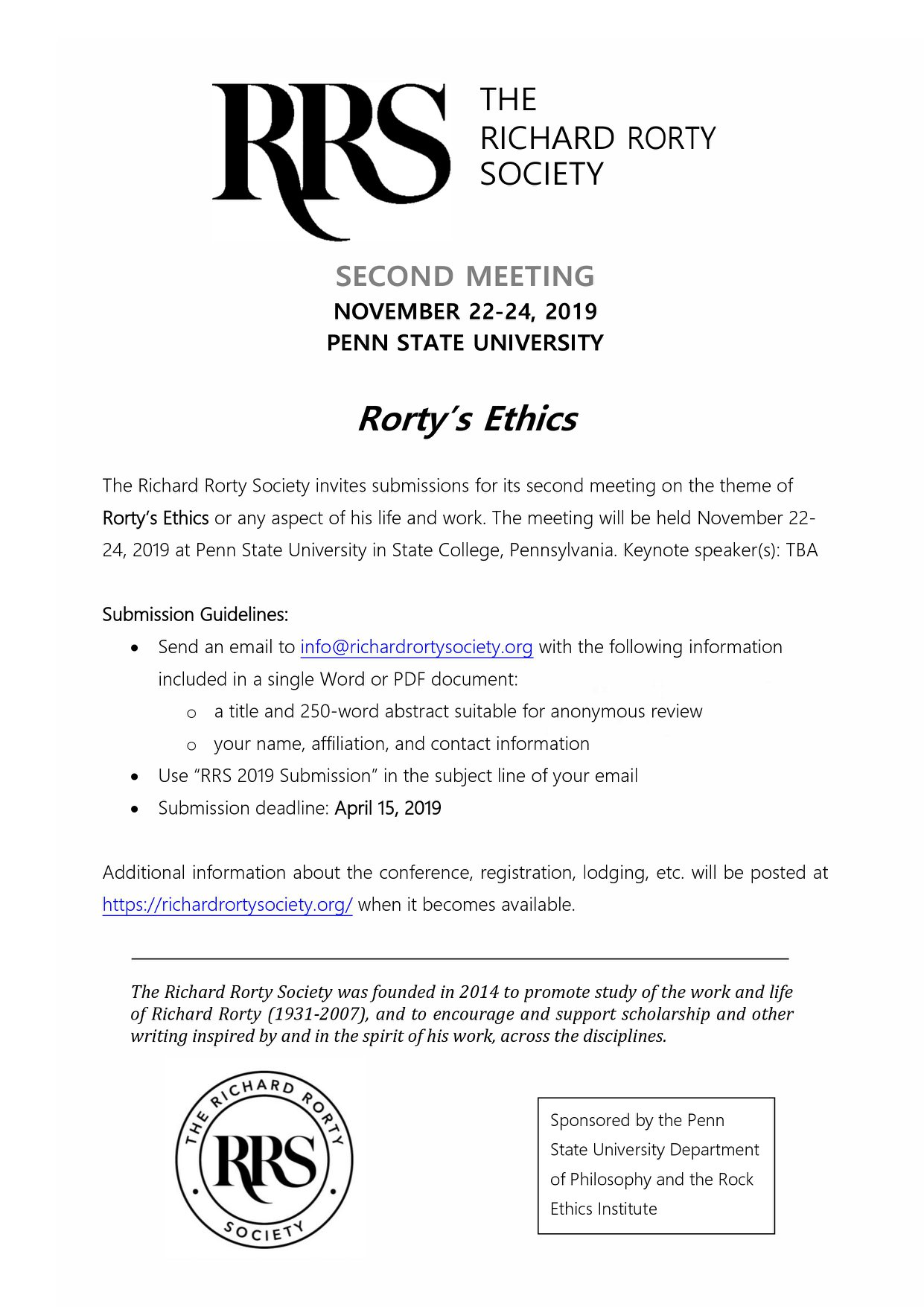 Second Meeting on the theme of Rorty's Ethics - The  Richard Rorty Society